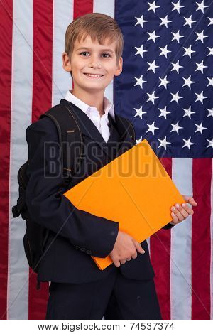 ?ute Schoolboy Is Holding A Book Against Usa Flag