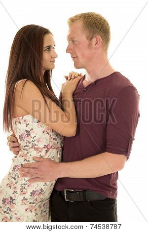 Woman Hands Shoulder Man Purple Shirt Look At Each Other