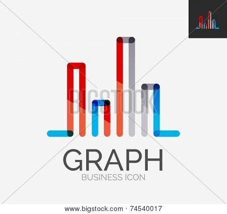 Minimal line design logo, business chart, graph icon, branding emblem