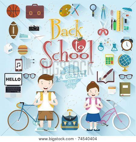 Back To School Typographical Background With Flat Icon Set, Vintage Ornaments, All for the beginning