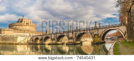 Sant Angelo Castle And Bridge In Rome, Italia.