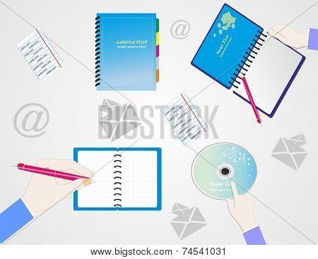 Notebook And Notepad With A Pen And Hands