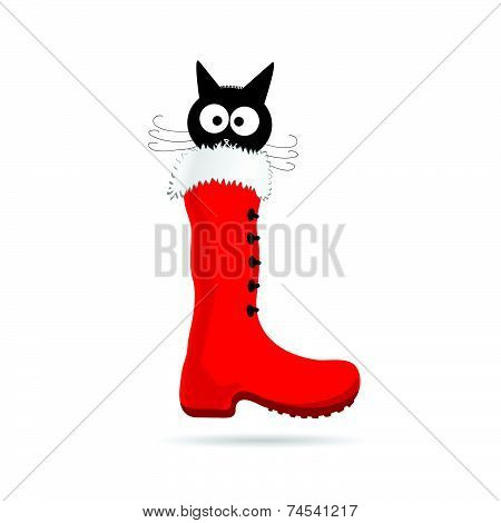 Cartoon Cat And New Year Boot Color Vector