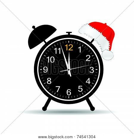 Clock With New Year Hat Vector