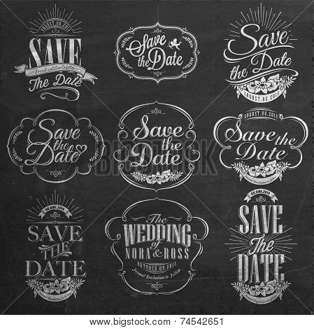 Save The Date, Wedding Invitation Vintage Typographic Design Elements On Chalkboard
