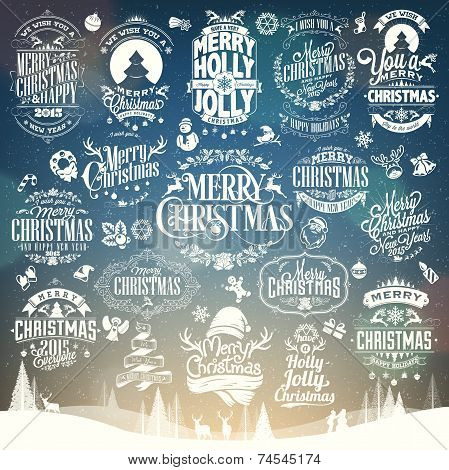Hand Drawn Christmas And New Year Decoration Set Of Calligraphic And Typographic Design With Labels,