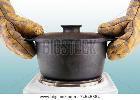 Oven mitts with cauldron