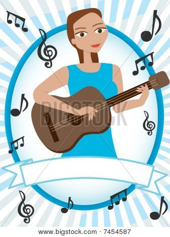 Stock vector : Cartoon girl playing acoustic guitar surrounded by musical