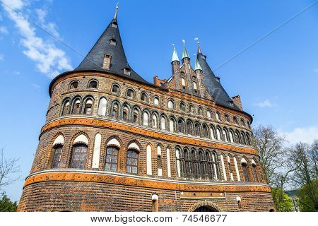 The Holsten Gate (holstentor) In Lubeck Old Town, Schleswig-holstein, Germany