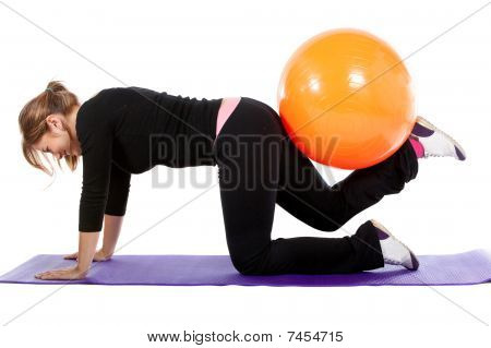 Gym Woman With Pilates Ball