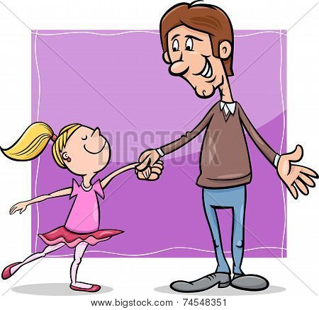 Father And Daughter Cartoon Illustration