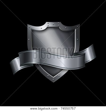 Medieval Silver Shield And Silver Banner.