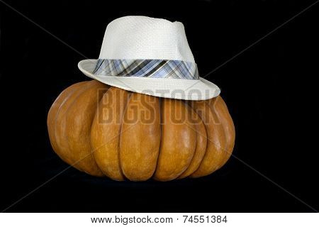 Pumpkin with hat  isolated on black