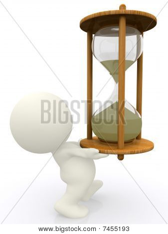 3D Person Carrying A Sand Clock