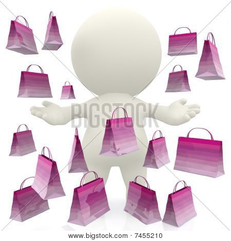 3D Person With Shopping Bags