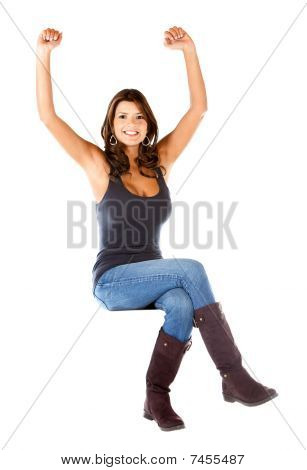 Casual Woman With Arms Up