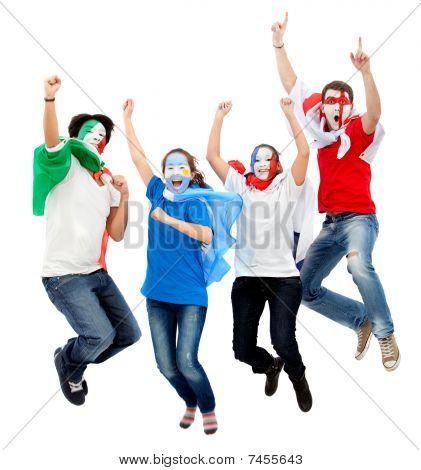 Football Fans Jumping