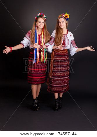 Young Women In Ukrainian Clothes