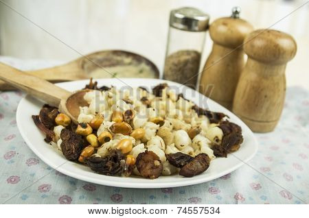 hominy and toasted corn nuts traditional  mote con chicharron ecuadorian food