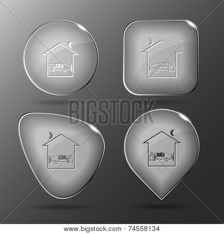 Home bedroom. Glass buttons. Vector illustration.