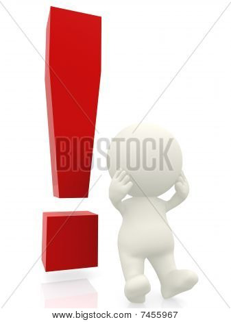 3D Man With Exclamation Mark