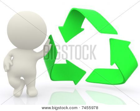 3D Man With Hand On Recycling Sign