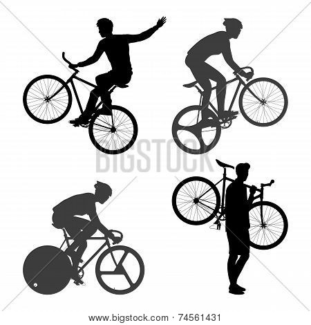 Cyclists Man and fixed gear bicycle