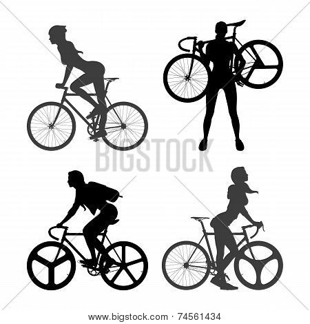 Cyclists Woman and fixed gear bicycle