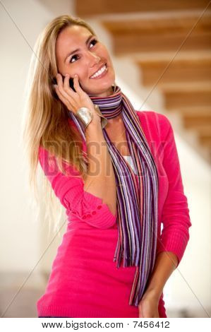 Casual Woman On The Phone