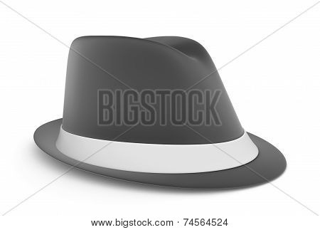Classic mens fedora in gray, over a white background