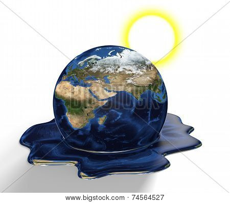 Conservation concept of Earth melting from climate change and global warming