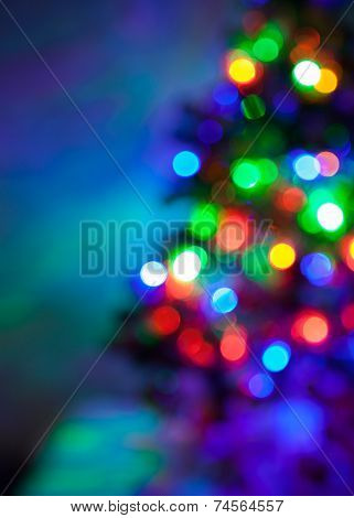 Christmas tree lights blur background