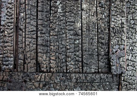 Wooden Planks Charred After The Fire