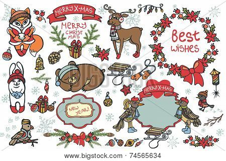 Christmas graphic elements, cute cartoon animals