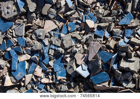 Pieces Of Beaten Tiles And Concrete Blocks.
