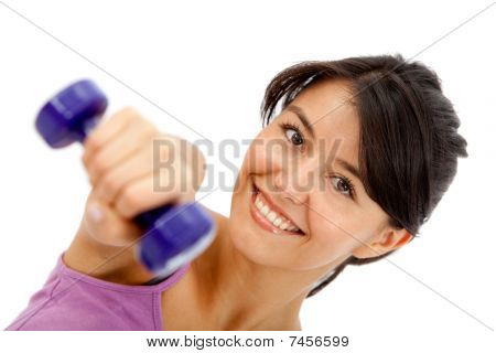 Woman Lifting Free Weights