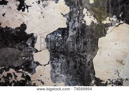 The Wall Texture With Cracked Plaster And Whitewash