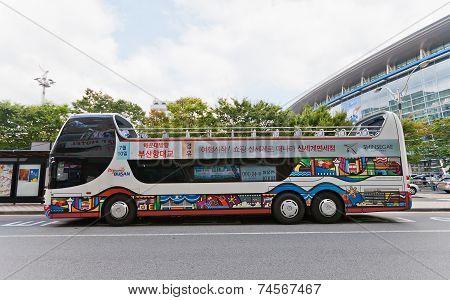 Double-decker City Sightseeing Bus In Busan, Korea