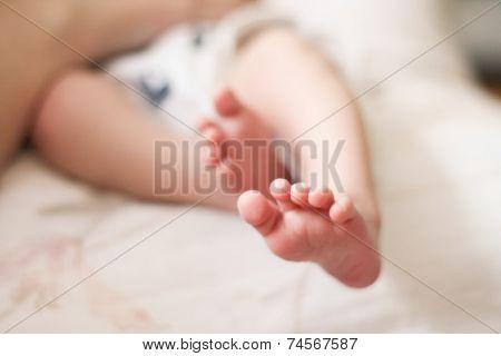 baby feet on white
