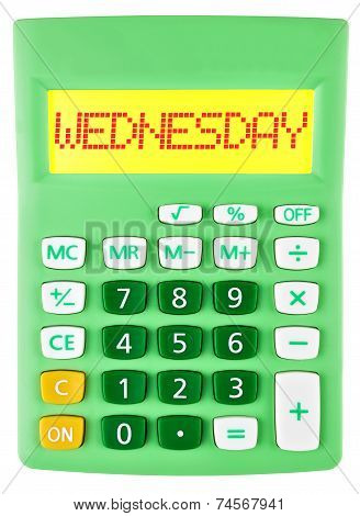 Calculator With Wednesday On Display Isolated