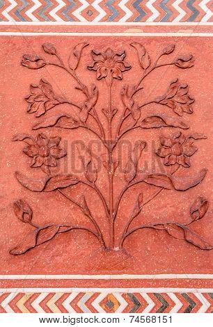 Polished Sandstone Surface. Taj Mahal, Agra, India.