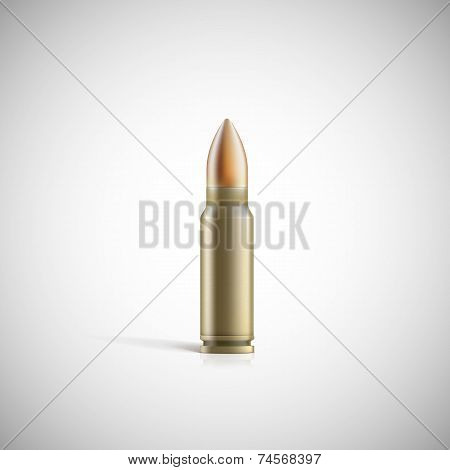 Rifle bullet isolated on white photo-realistic vector illustration