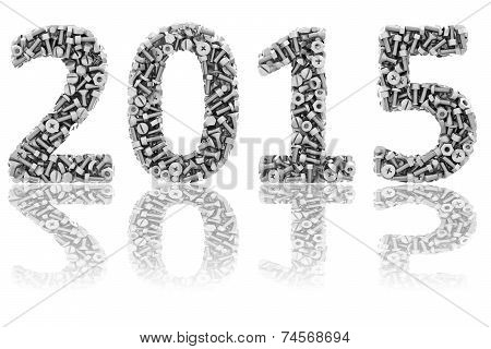 2015 Digits Composed Of Differnt Bolts And Nuts On Glossy White Background