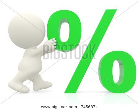 3D Man Pushing Percentage Sign