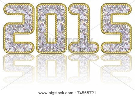 2015 Digits Composed Of Gems In Golden Rim On Glossy White Background