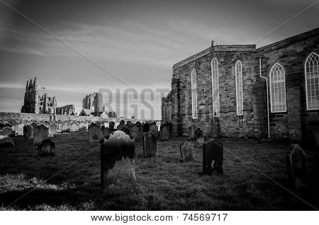 Whitby Abbey and cemetery during the night in North Yorkshire