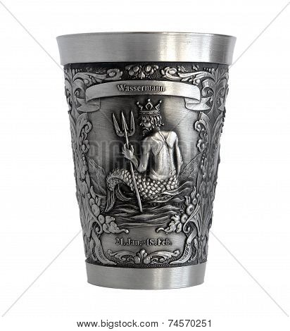 Silver Cup With A Picture Of An Aquarius Zodiac