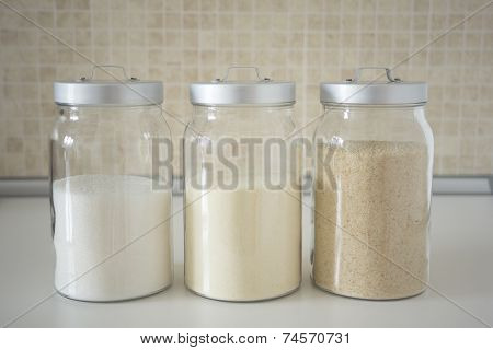 Three Containers With Flour, Breadcrumbs, Semolina