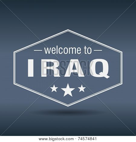 Welcome To Iraq Hexagonal White Vintage Label
