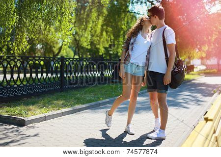 Couple Teens In Love Walking In The Park In Summer Day, Youth, Love, Relationship - Concept